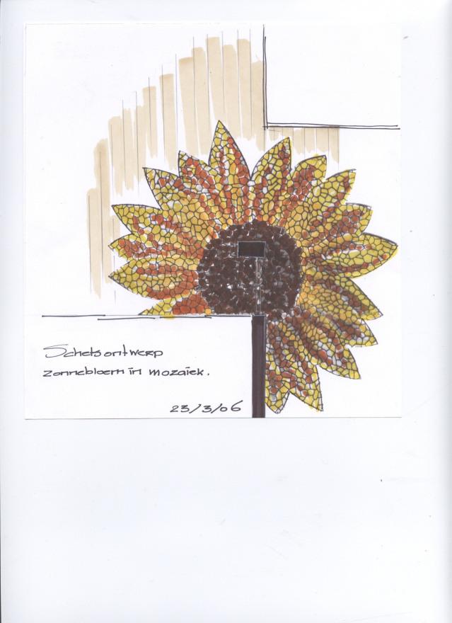 0 zonnebloem in mozaiek